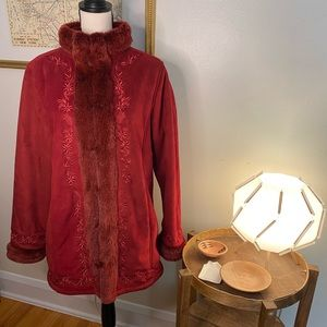 L.L. Bean Faux Suede and Fur Embroidered Coat